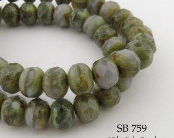 8mm Czech Faceted Rondelle Glass Beads Woodland Walk (SB 759) 12 pcs BlueEchoBeads