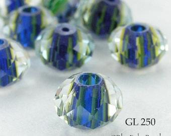 ON SALE Glass Beads 10 mm Blue Lime Green Stripes Rondelle (GL 250) 5 pcs BlueEchoBeads