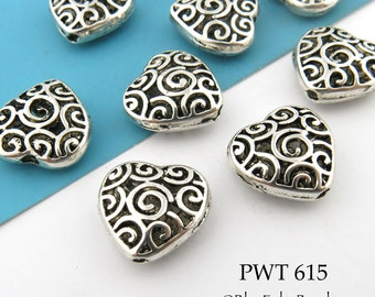 15mm Hollow Heart Beads Pewter Heart Bead with Spiral (PWT 615) 3 pcs BlueEchoBeads