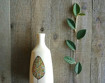 Fall leaf vase, leaf art ceramic vase, rustic home decor, woodland vase