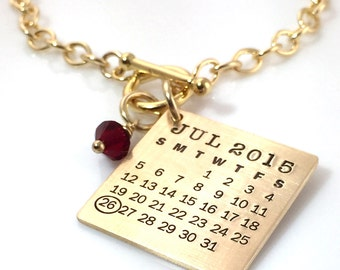 Personalized Calendar Bracelet - Gold Filled Mark Your Calendar Toggle Bracelet hand stamped