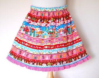 CHRISTMAS MATRYOSHKAS handmade girls skirt made with japanese fabric, girl christmas twirly skirt, toddler matryoshka skirt