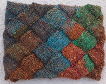 Entrelac Beautiful Hand Knit Silk and Wool Scraf Ready to Ship