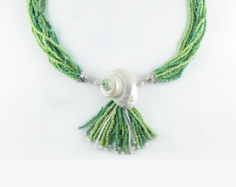 Multi Strand One of a Kind Statement Necklace - Seed Bead Necklace