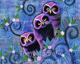 "Three Owls  Instant Download 8"" X 10""  printable art from original mixed media contemporary raw folk art"