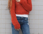 Hand knit woman cotton sweater cropped top cover up loose weave Coral red