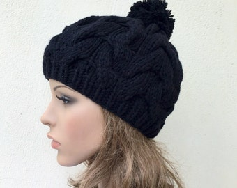 Hand Knit Hat wool  Beret Hat with Pom Pom black hat