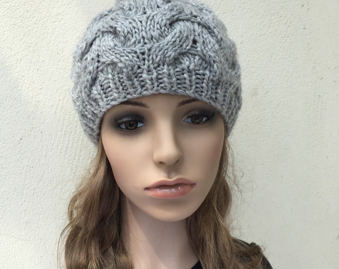 Hand Knit Hat wool  Beret Hat with Pom Pom Grey hat