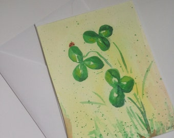 Ladybug and Clover Original Watercolor Painting Nature Small