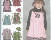 Simplicity 4056 Toddlers' Jumper in Two Lengths, Hat and Knit Top - Size 1/2-1-2-3-4 - Uncut Pattern