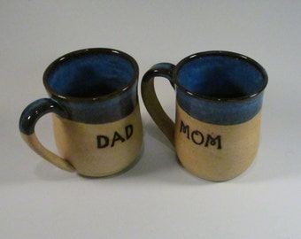 Ceramic Mug Set - Couples Gift - Denim Blue - Anniversary Set - Handmade Mugs - Wheel Thrown Mugs - Stoneware Mugs - Pottery Mugs
