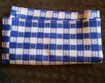 Vintage blue & white checkered Fabric