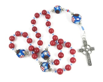 Red Dolomite Anglican Rosary Prayer Beads Protestant Handmade Polymer Clay Focals Home Living Spirituality Religion Religious Jewely