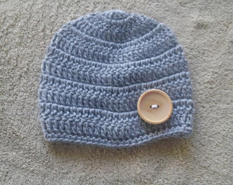 Crochet Baby Infant Boy All GrayHat Beanie Newborn Photo Prop Shower Gift MADE TO ORDER