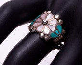 Zuni MOP and Turquoise Ring - 60s Stephen & Louise Suitza - Flush Inlay Floriform - sz 7