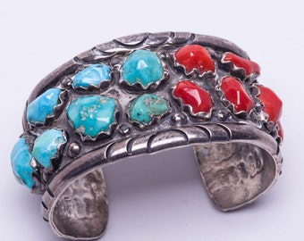 Wayne Cheama Cuff - Zuni Sterling - 70s Turquoise & Coral Bracelet