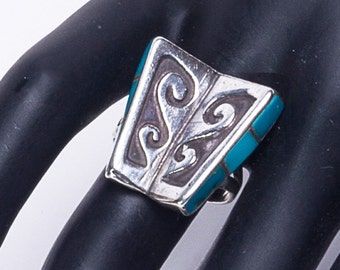 Turquoise Book Ring - Overlay & Inlay - Sterling Native American -  sz 7 1/2