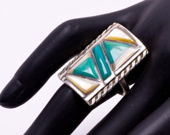 Inlay Turquoise MOP Ring - 70s Big Navajo Sterling Signed -  sz 8 1/2
