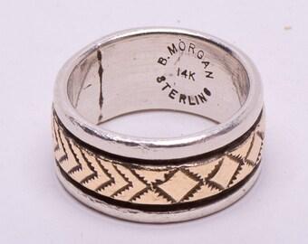 Navajo Sterling 14k Ring -  Bruce Morgan - sz 6