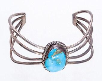 Navajo Kingman Turquoise Sterling Cuff Bracelet 70s