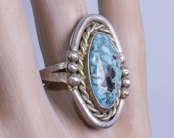Big Navajo Turquoise Ring - 70s Sterling Pawn -  sz 12 1/2