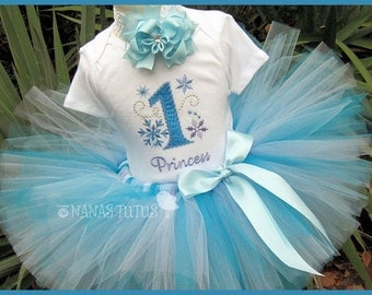 1yr, Ready to Ship,  Frozen, Snow Flakes, Princess Party, Party Outfit, Theme Party, Photo Shoot