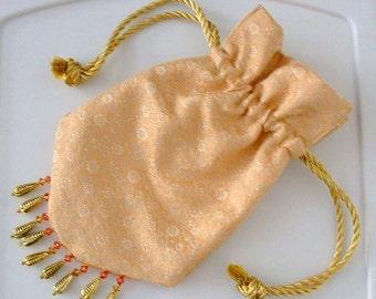 Regency Style Reticule, Drawstring Bag, Handbag, Purse Reenactment Victorian Drawstring Bag Lined Bead Fringe- Ready to Ship
