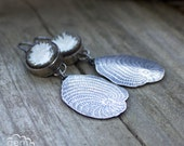 Sterling silver and ceramic cabochon dangle earrings - Beachcombing -