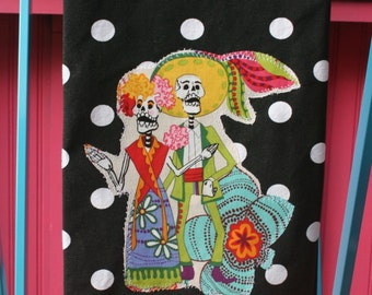 Dia de los MUERTOS Ruffled MEXICAN Kitchen TOWEL