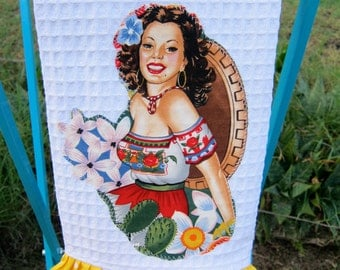 SENORITA Dominga Ruffled Mexican Kitchen TOWEL CUSTOM