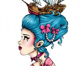 Blue Pirate Ship Marie Antoinette A4 Art Print by Hungry Designs