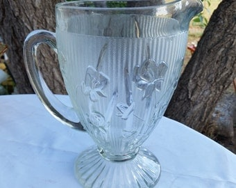 jeanette glass clear iris pitcher