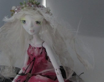 GHOST CLAIRE, On Sale, handmade puppet style art doll, ooak made in the USA