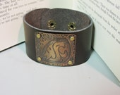 Washington State Cougars Inspired Etched & Hammered Copper and Leather Cuff Bracelet- Unisex