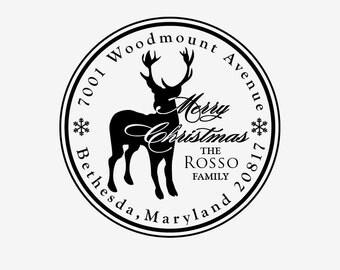 Christmas address stamp - Custom Stamp - Reindeer Address Stamp - Christmas Stamp