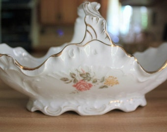 Antique, Carl Tielsh, C.T. Porcelain Basket,  Made in Germany, 1897 to 1900's, Hand Painted, Roses