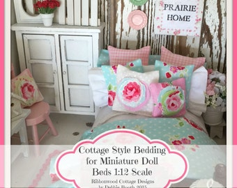 Sewing Pattern- Miniature Cottage Style Bedding for Miniature Doll Beds 1:12 Scale PATTERN Ebook 42 Color Pages