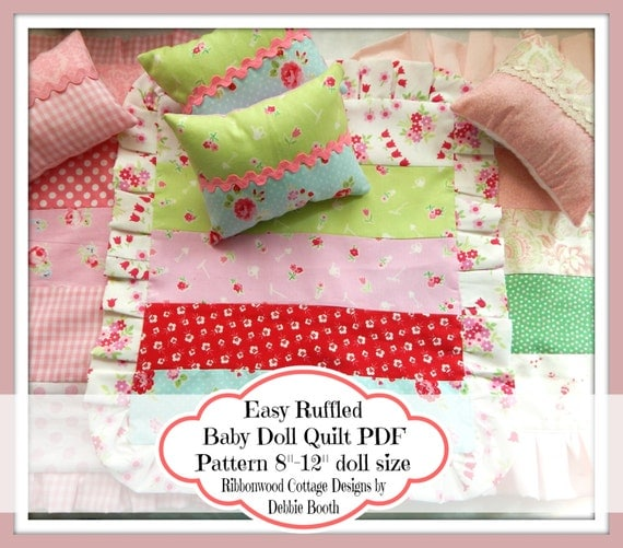 Sewing Pattern PDF Easy Ruffled Baby Doll Quilt Pattern 8