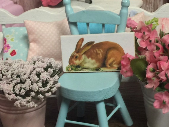 "Vintage Looking Bunny Sign-1""x 2"""