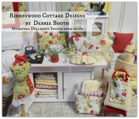 Sewing Pattern PDF Miniature Dollhouse Sewing Room Decor and Accessories-Dollhouse pattern