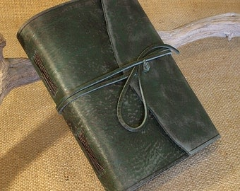 A5, Medium, Distressed Leather Journal, Leather Wraparound Journal, Travel Journal, Green Leather, Wrap Notebook, Blank Book, Rustic.
