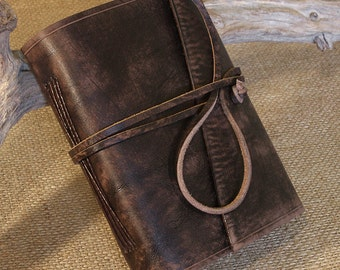 A6, Standard, Distressed Leather Journal, Leather Wraparound Journal, Travel Journal, Dark Brown Leather, Wrap Notebook, Blank Book, Rustic.