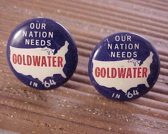 Vintage Goldwater Campaign Pin Cuff Links - Free Shipping to USA