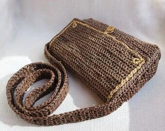 Crochet Natural  Raffia Shoulder Bag - Brown with Natural Trim