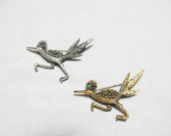 Beep! Beep! Pair Roadrunner Pins Brooches Gold Silver Tone Turquoise eyes! fun!