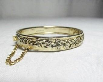Whiting Davis Gold Tone Leaf Bracelet Hinged Bangle