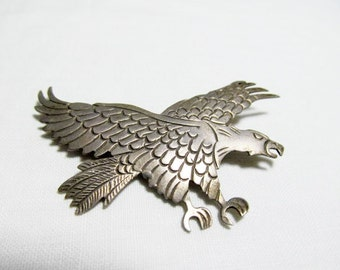 Sterling Silver Flying Eagle Pin Brooch Handmade