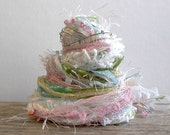 fairy bride fringe effects™  textile art yarn fiber bundle 21yds specialty ribbons embellishments . white gold pink sparkle sequins pearls