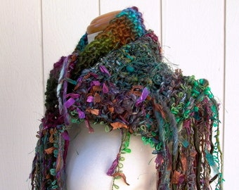 forest jewel. handknit art yarn scarf . knit fiber art scarf . handspun wool ribbons sparkle threads . pine green teal purple turquoise