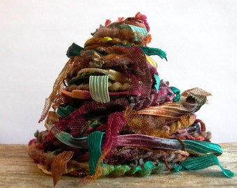 mulberry bush fiber effects™  12yds specialty art yarn embellishment bundle  . teal berry wine butterscotch chocolate brown fall palette